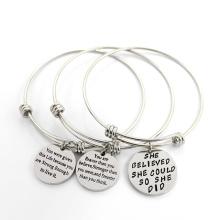 Bracelet en acier rond à la main Bracelet en acier inoxydable Bijouterie à la mode