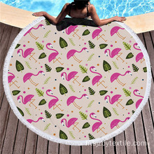 Serviettes de plage rondes rose vif bleu inhabituel Flamingo
