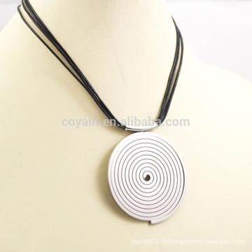 Schwarzes PU-Leder-Schnur-Silber-Edelstahl-Aufschlag-Ziel-hängende Halskette