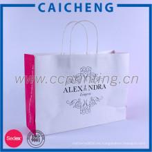 2016 bolso de papel kraft blanco impreso personalizado