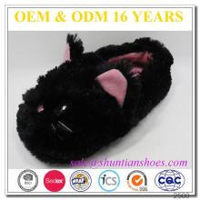 Popular catty embroidered design adults children winter plush slipper