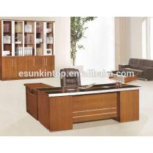 Foshan escritorio moderno de la oficina de cristal de la melamina con la tabla lateral de la forma de L