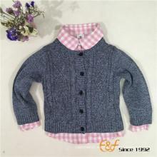 Cárdigan de manga larga de color 100% algodón transpirable con cordones para bebé