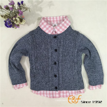 100%Cotton Breathable Slip color Long Sleeve Buttons Cardigan for Baby Boy