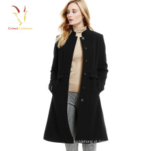 Senhoras casaco de lã de caxemira preto longo casaco de inverno coreano