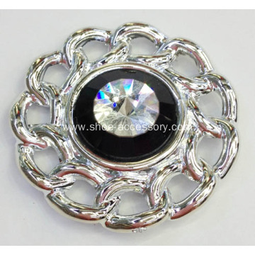Flower Shapes Metallic Rhinestone Shoe Clips