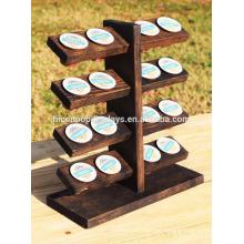 Venta al por menor Comercial de mesa de visualización 5-Tier 16 piezas portátil de madera oscura sólida de madera K-Cup titular