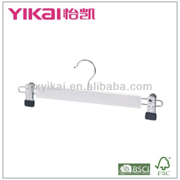 White Wooden Skirt and Trousers Hanger with Metal Clips