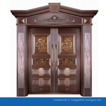 Maison moderne porte extérieure double verre trempé porte en cuivre pur villa entrée porte d'entrée design