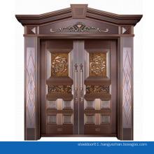 Modern house exterior door double tempered glass pure copper door villa entry front door design