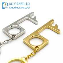 Anti Touch Door Handle Opener Keyring Sanitary Hands Free Protective Hygiene Hand Brass Hook Keychain Door Opener Stylus
