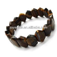 Tigereye piedras preciosas hexágono espaciador cuentas pulsera de estiramiento