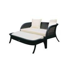 Outdoor rattan loveseat sofa with ottoman