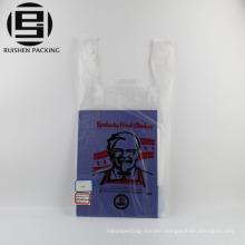 Printed kfc plastic t-shirt handle shopping bags