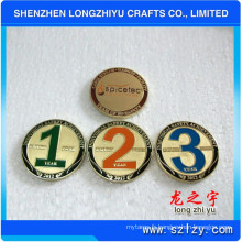 Pièces de monnaie de médaille en cuivre d'or d'argent, médaillon commémoratif de cuivre de temple, souvenir gravé de logo de relief