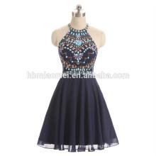 2017 new fashion beaded evening dress blue color halter design evening dinner dress wholesale
