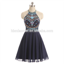 2017 nova moda frisado vestido de noite azul cor halter design noite vestido de jantar atacado