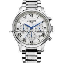 Multifunción de acero inoxidable de cuarzo hombres reloj de pulsera
