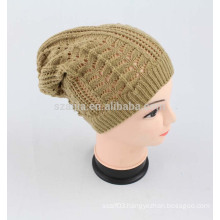 women winter solid fashion acrylic knitted crochet hat