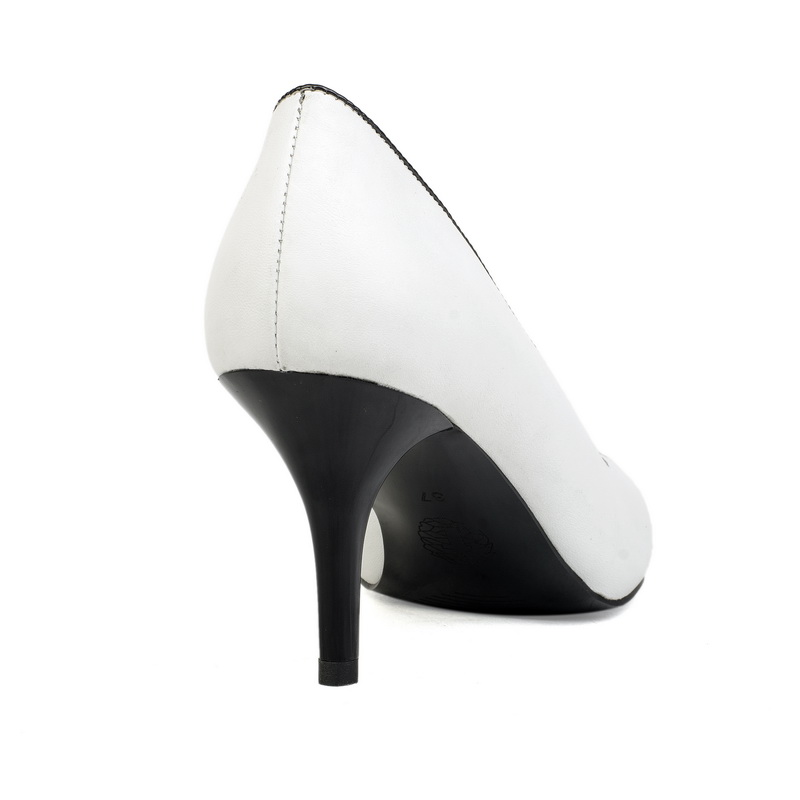 white genuine leather Middle heel women shoes