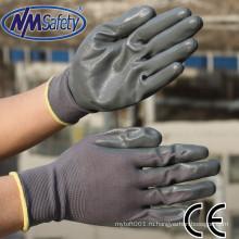 NMSAFETY нм защитные перчатки 13 калибровочных нейлона связанный лайнера нитрила перчатки работы