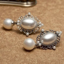 Perhiasan Kostum Vintage Pearl Earrings