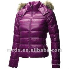 Nice simple design short down jacket with fur hood