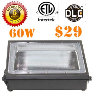 UL-Wand-Pack-Licht 60w LED-Wandleuchte im Freien mit schwarzem Finish Wandbeleuchtung