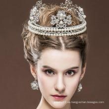 Tiaras de la corona y del anillo de la reina de belleza Tiaras reales del diamante de la venta caliente