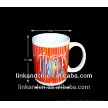 Haonai customized decal ceramic travel mug, ceramic mug