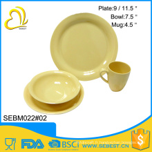 ensembles de vaisselle occidentaux en mélamine ronde de bambou jaune les plus populaires