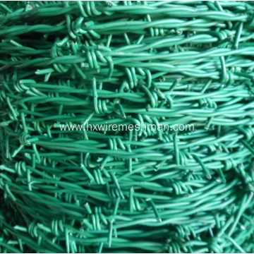 Plastic coated coiled barbed wire