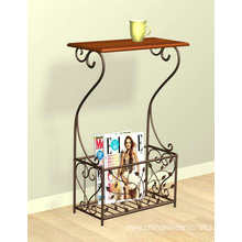 Metal & Wood Magazine Storage Accent Table - Leaves Design