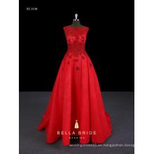 El amor que rebordea rojo largo elegante vestido de boda marroquí con el vestido de bola