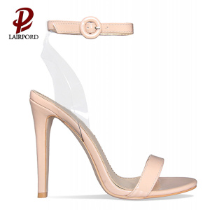 beige colour PVC high thin heel sandals