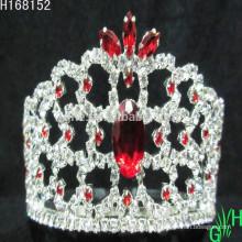 Atacado Mini Beleza Red Rhinestone Tiara Crown