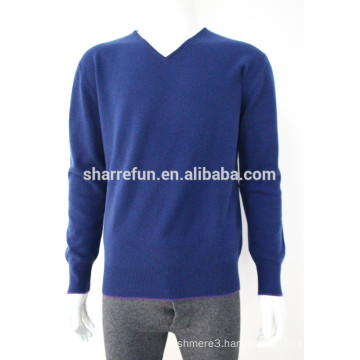 High Quality 12GG casual men's v-neck 100% cashmere sweater with elbow patches