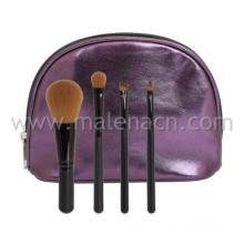 4PCS Synthetic Hair Makeup Brush Travel Set with Purple Case