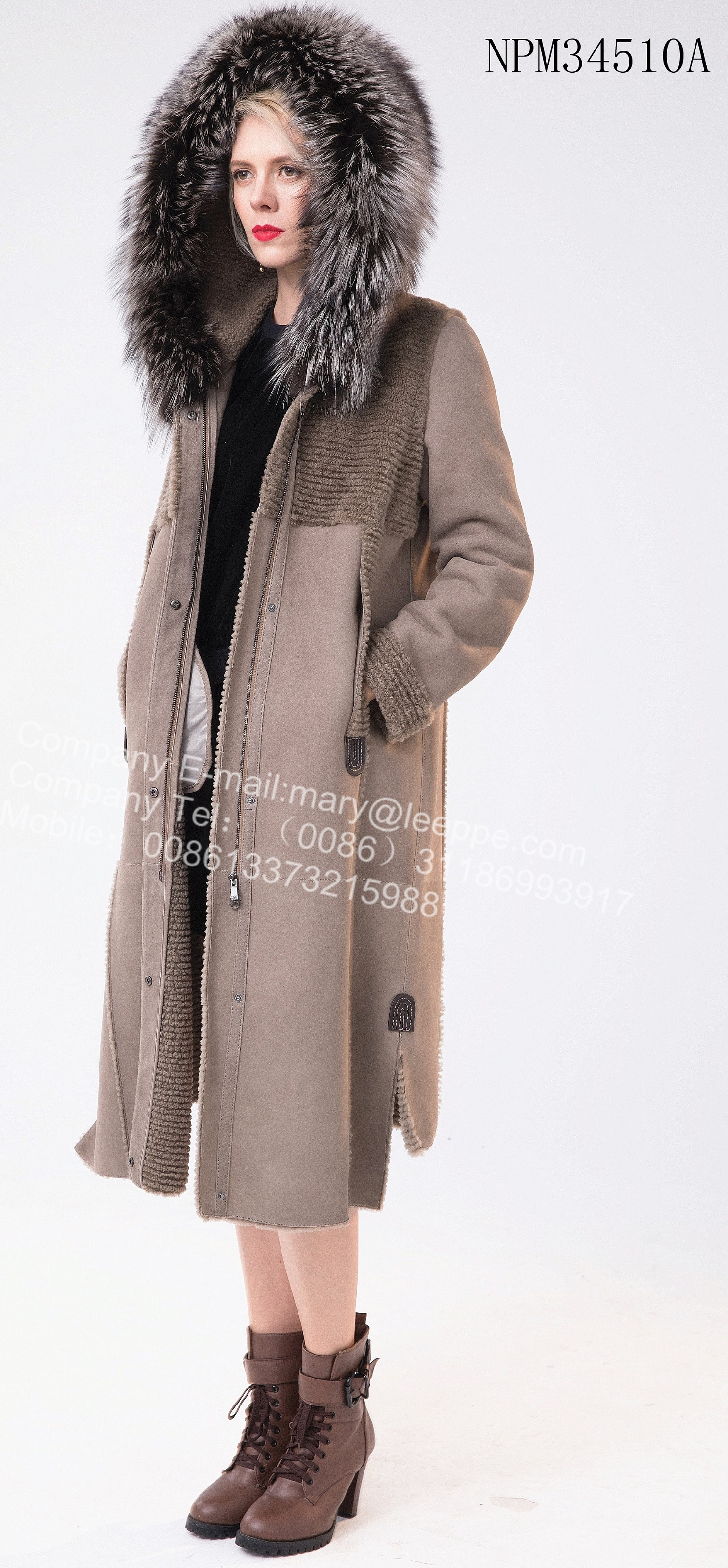Winter Long Hooded Australia Merino Shearling Coat