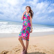 Casual férias baixo MOQ vestido bali sarong chiffon cachecol praia colorida pareo