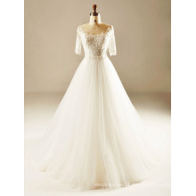 Back See Through Half Sleeve Wedding Gown
