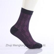 Diamond Design Men Business Algodão Meias Vestido Casual Everyday Socks