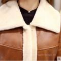 Женская кожа ягненка и овчины длинное пальто Стиль
