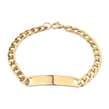 Custom Stainless Steel Plain Bar Engraved  Curb Cuban  Link Chain 18k Gold Metal Men ID Bracelet