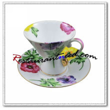 B126 180ml YAMI Chrysanthemum Tea Cups & Saucers 2 Set
