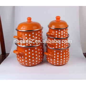 high quality Carbon steel enamel pot with ceramic coating with pp knob enamel handle