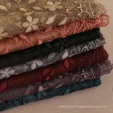 Elegante e elegante senhora cachecol hijab com rendas 7 cores algodão tecido bordado lenço