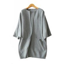 Abrigo 2017 del cuello redondo de la moda de las mujeres más el tamaño abrigos que hacen punto de la cachemira gruesos abrigos calientes flojos con los bolsillos dobles