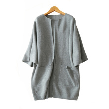 Women coat 2017 fashion crew neck plus size pure cashmere knitting coats thick loose warm coats with double pockets
