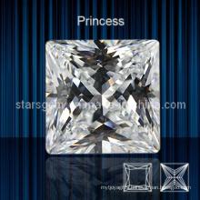 White Color Square Shape Princess Cut Cubic Zirconia